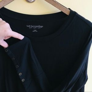 Soft Surroundings black tunic top w button sleeves